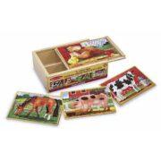 Animales de Granja 12 piezas 4 rompecabezas  en una Caja Melissa and Doug