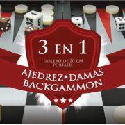 Set de Juegos 3 en 1 (Ajedrez, Damas y Backgammon) – Novelty