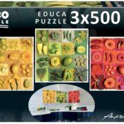 ROMPECABEZAS DE 1500 (3 X 500) PIEZAS DE FRUTAS Y FLORES EXÓTICAS - EDUCA