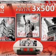 ROMPECABEZAS DE 1500 (3 X 500) PIEZAS DE GRANDES CIUDADES - EDUCA