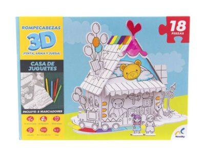 ROMPECABEZAS EN 3D PARA COLOREAR DE CASA DE JUGUETES - NOVELTY