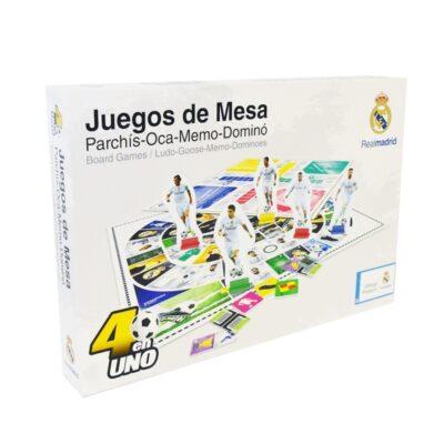 JUEGOS DE MESA 4 EN 1 DEL REAL MADRID (PARCHÍS-OCA-MEMO-DOMINÓ)