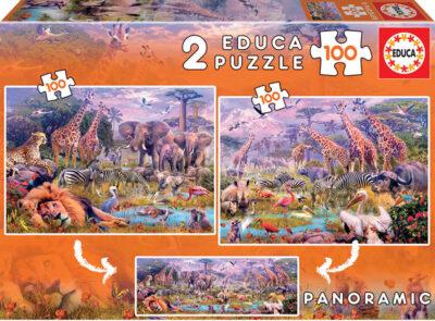 ROMPECABEZAS 2 EN 1 DE 2 X 100 PIEZAS DE ANIMALES SALVAJES - EDUCA
