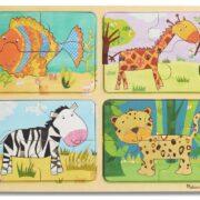 4 ROMPECABEZAS DE MADERA DE PATRONES DE ANIMALES - MELISSA AND DOUG