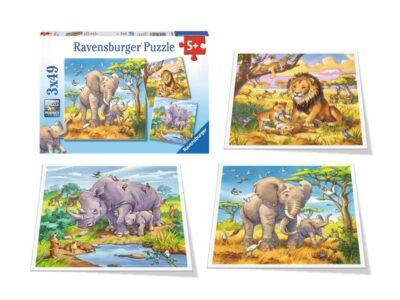 3 ROMPECABEZAS 49 PIEZAS ANIMALES DE LA SELVA - RAVENSBURGER